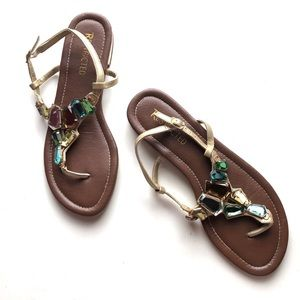 Restricted multicolored jeweled sandals
